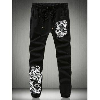 Eyelet Drawstring Abstract Totem Print Jogger Pants - BLACK BLACK