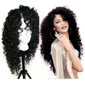 Long Curly Side Parting Synthetic Lace Front Wig - BLACK
