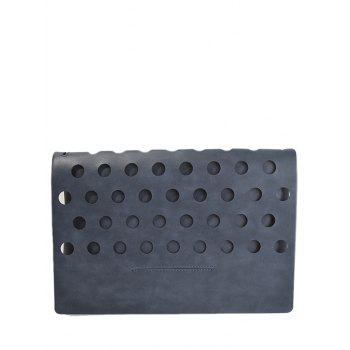 PU Leather Covered Hollow Out Clutch Bag - DEEP GRAY DEEP GRAY