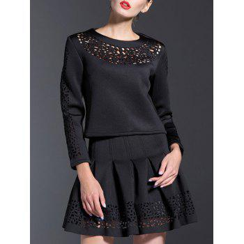 Casual 3/4 Sleeve Hollow Out Two Piece Dress - BLACK BLACK