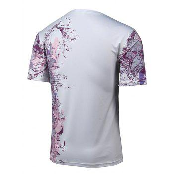 Short Sleeve 3D Leopard and Floral Print T-Shirt - WHITE M