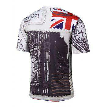 Short Sleeve 3D Cartoon Chaplin and Union Jack Print T-Shirt - COLORMIX XL