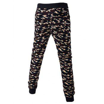 Drawstring Beam Feet Camoflage Pattern Jogger Pants - COFFEE L