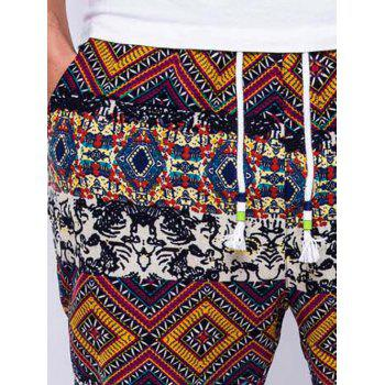 Lace-Up Ethnic Style Geometric Print Beam Feet Jogger Pants - RED M