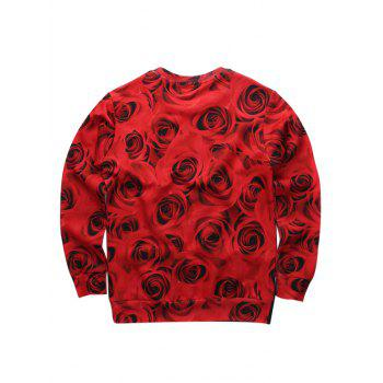 Character Rose 3D Printed Crew Neck Sweatshirt - RED XL