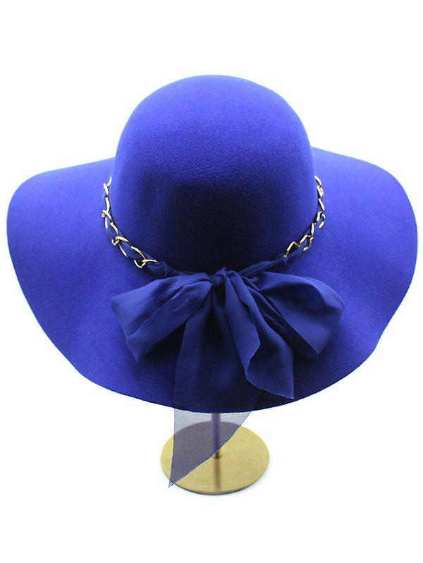 Casual Keep Warm Wool Wide Brim Bowknot Fedora Hat - BLUE