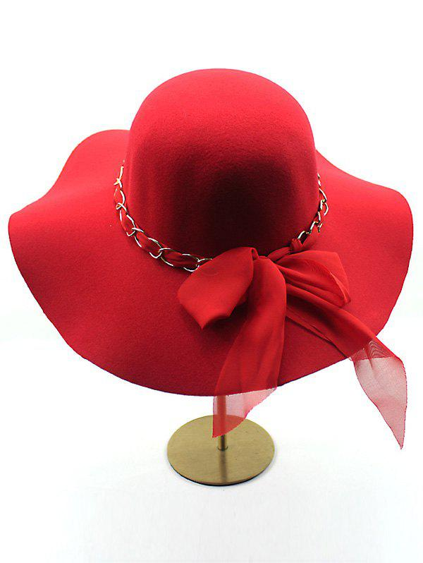 Casual Keep Warm Wool Wide Brim Bowknot Fedora Hat - RED