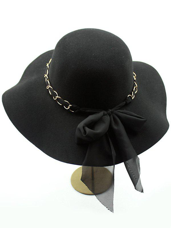 Casual Keep Warm Wool Wide Brim Bowknot Fedora Hat - BLACK