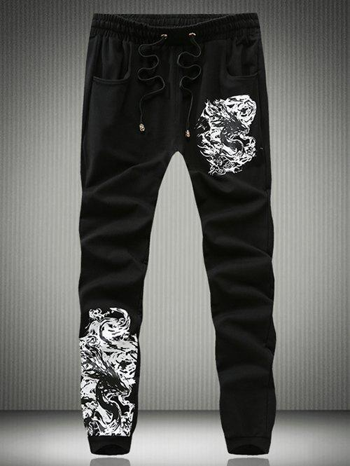 Eyelet Drawstring Abstract Totem Print Jogger Pants - BLACK XL
