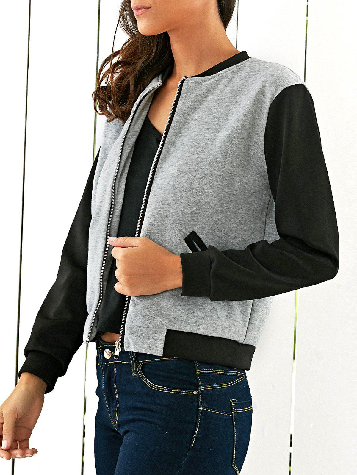 Two Tone Zipper Casual Jacket - GRAY S