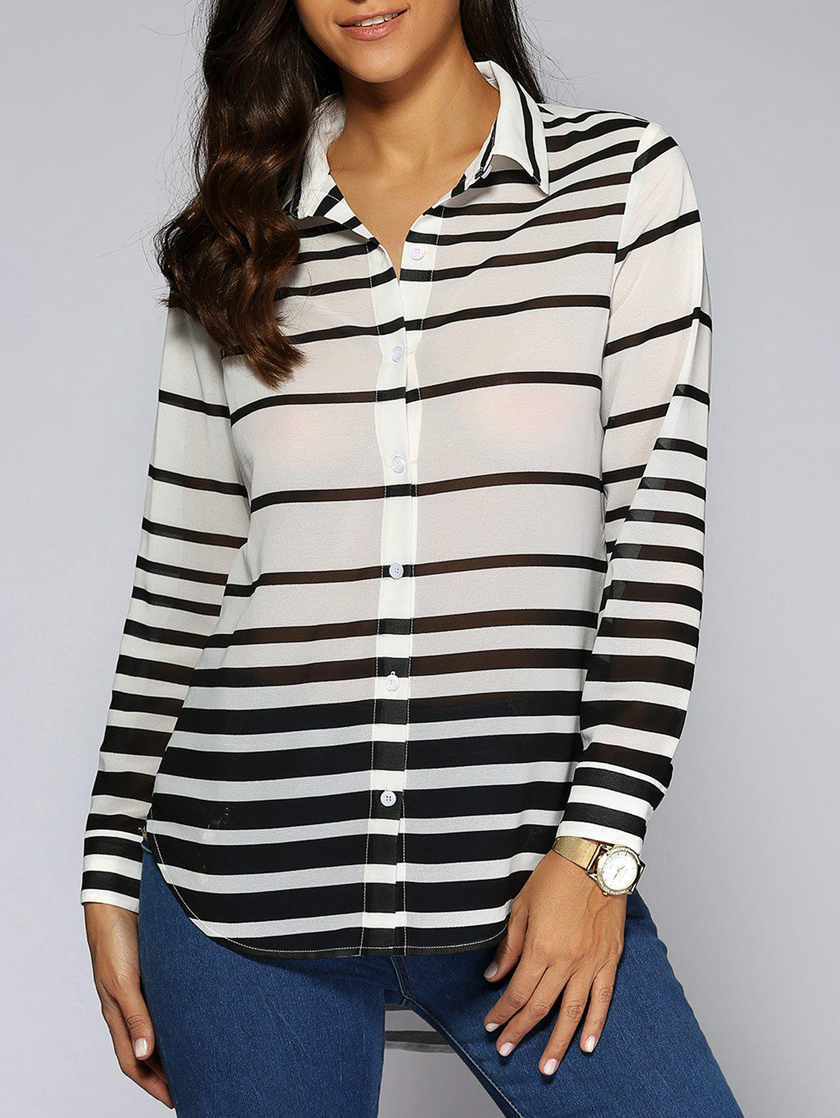 Buy Striped High Low Hem Shirt WHITE/BLACK