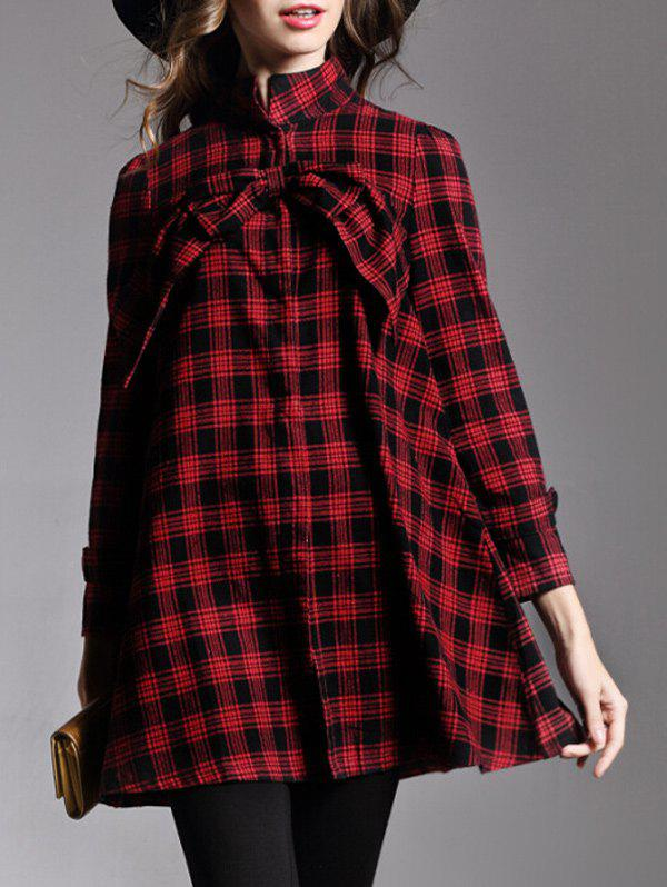 Stand Collar Plaid Bowknot Loose Coat - RED S