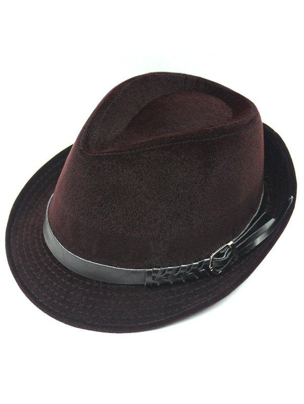 Faddish Embellished Flanging Pin Buckle Belt Fedora Hat - BRICK RED