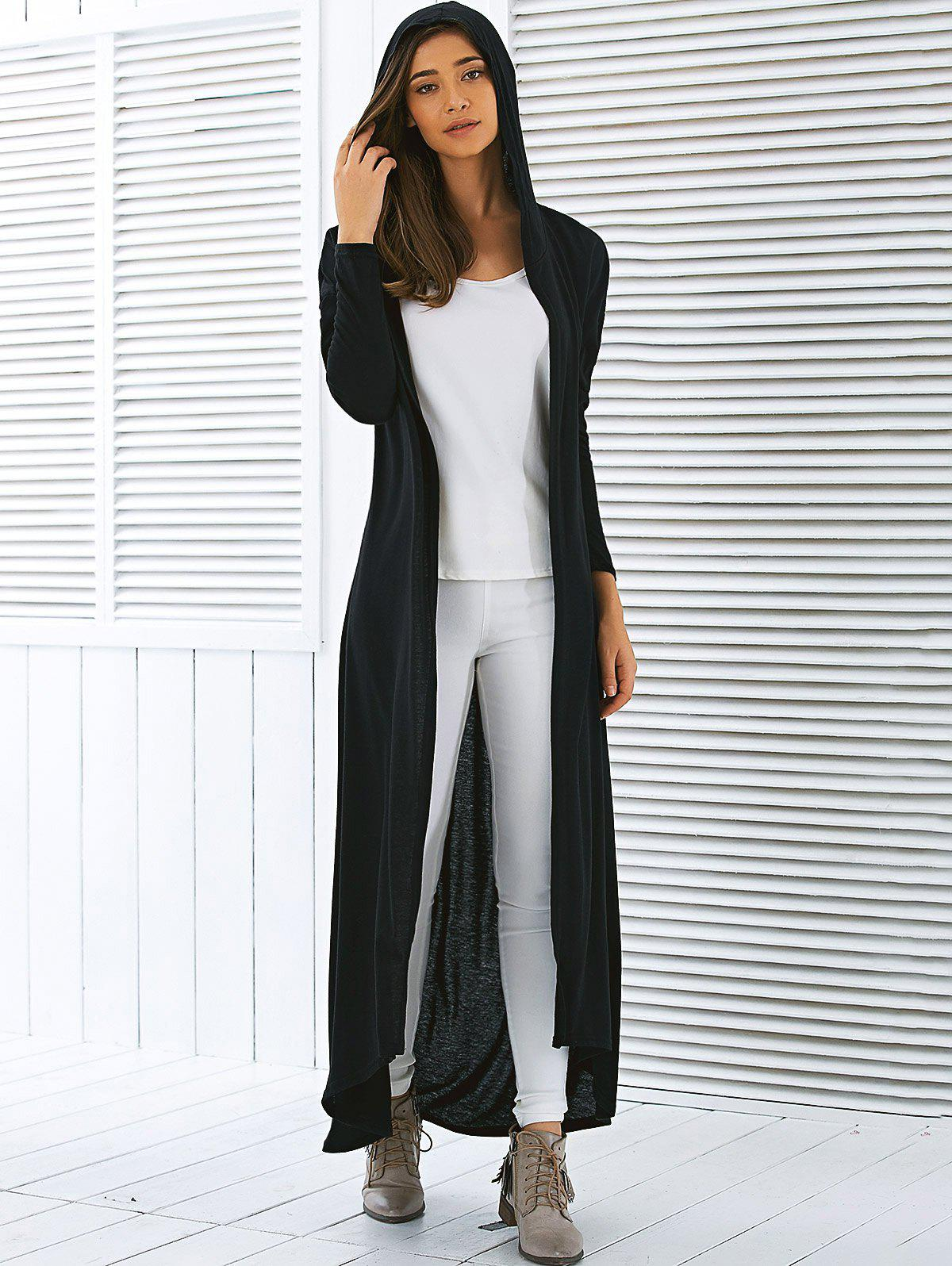 2018 Hooded Maxi Long Duster Cardigan BLACK M In Sweaters ...