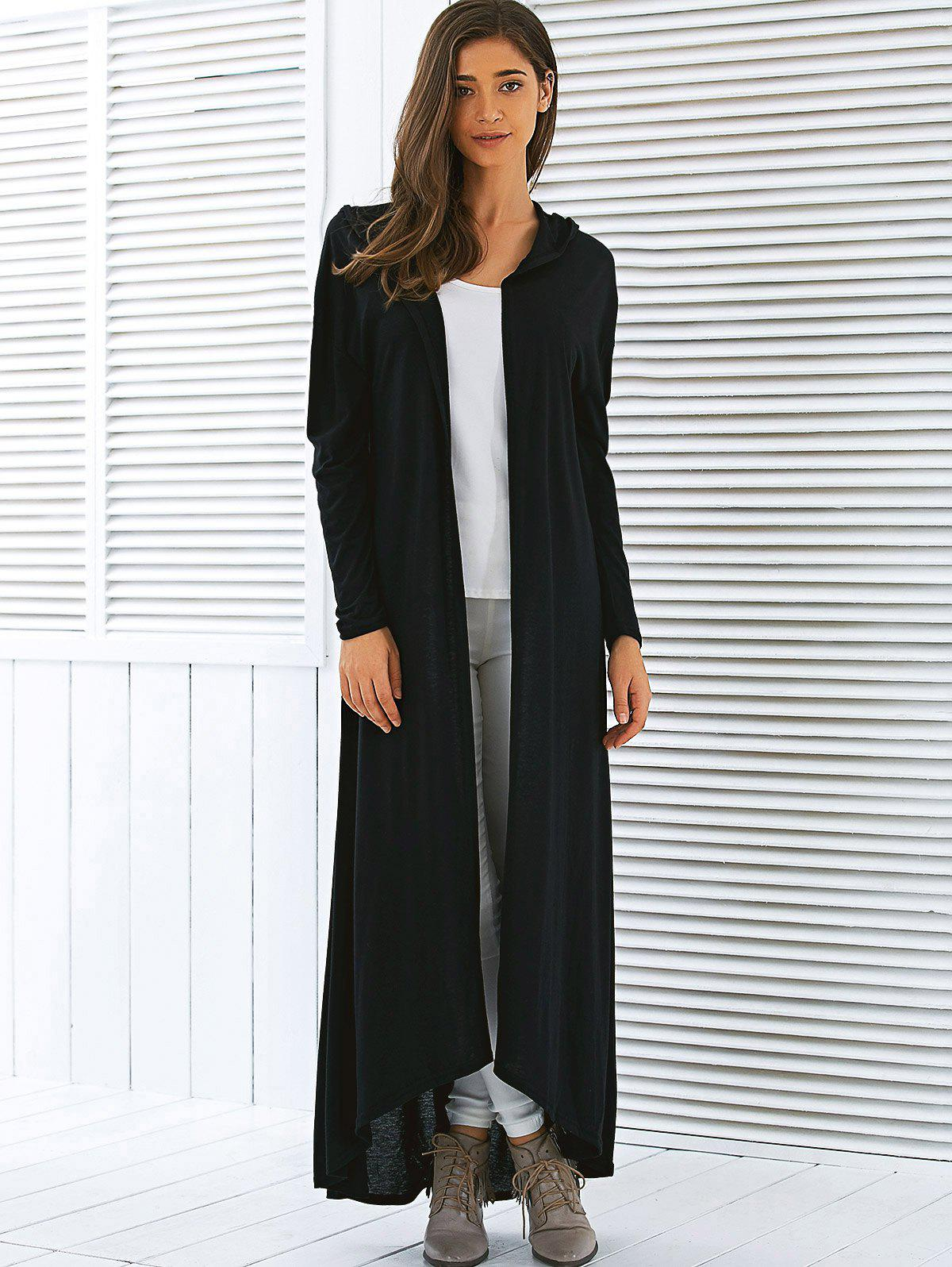 Hooded Maxi Long Duster Cardigan - BLACK M
