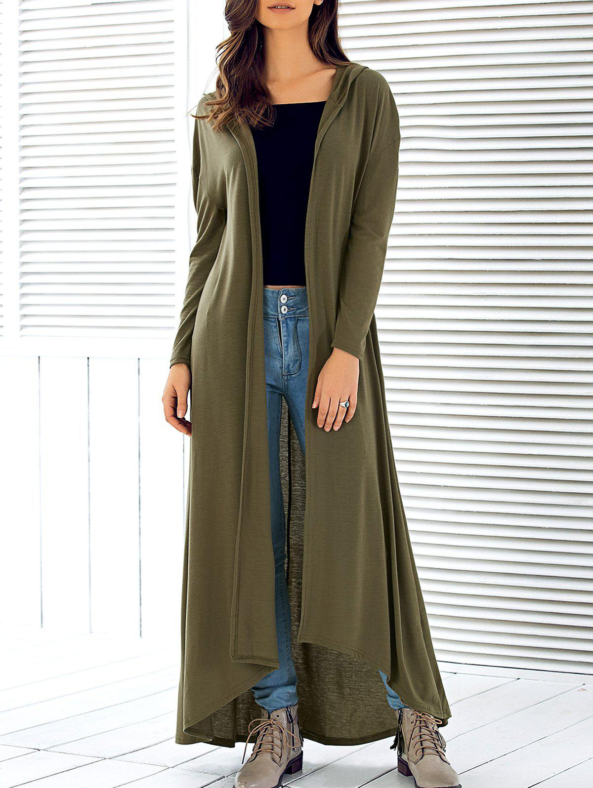 2018 Hooded Maxi Long Duster Cardigan ARMY GREEN L In Sweaters ...