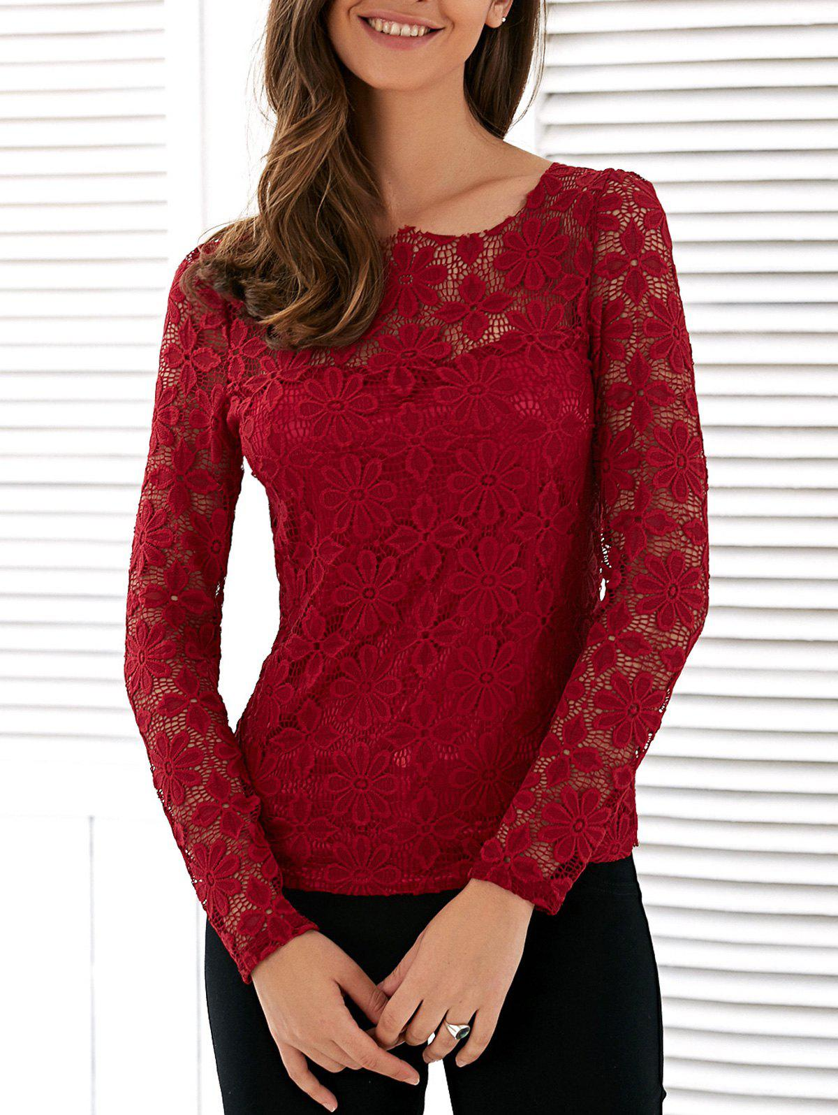 Buy Long Sleeve See Lace Blouse WINE RED