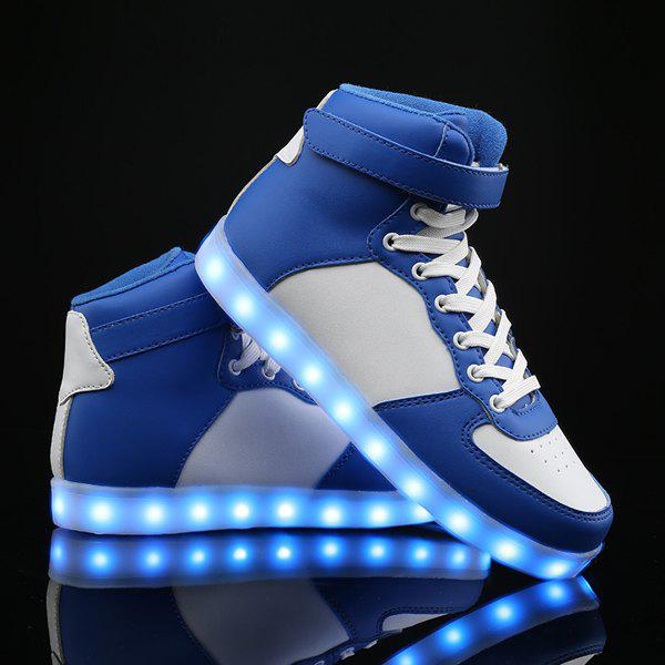 Led Luminous Colour Block Lights Up Casual ShoesShoes<br><br><br>Size: 40<br>Color: BLUE AND WHITE