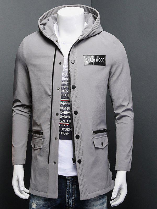 Snap Button Patch Design Zippered Hooded Coat rib cuff zippered hooded coat