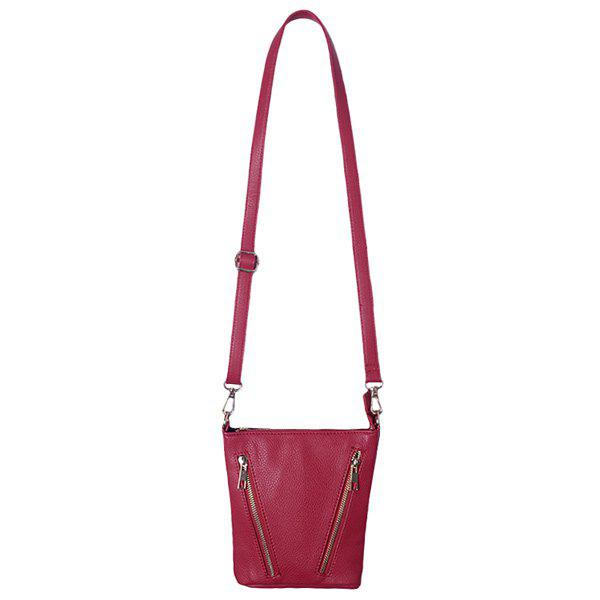 Textured PU Leather Multi Zips Crossbody Bag - WINE RED