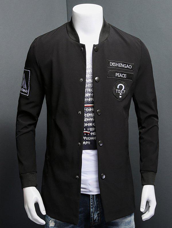 Cuff Rib Patch Design Snap Button Up CoatMen<br><br><br>Size: M<br>Color: BLACK