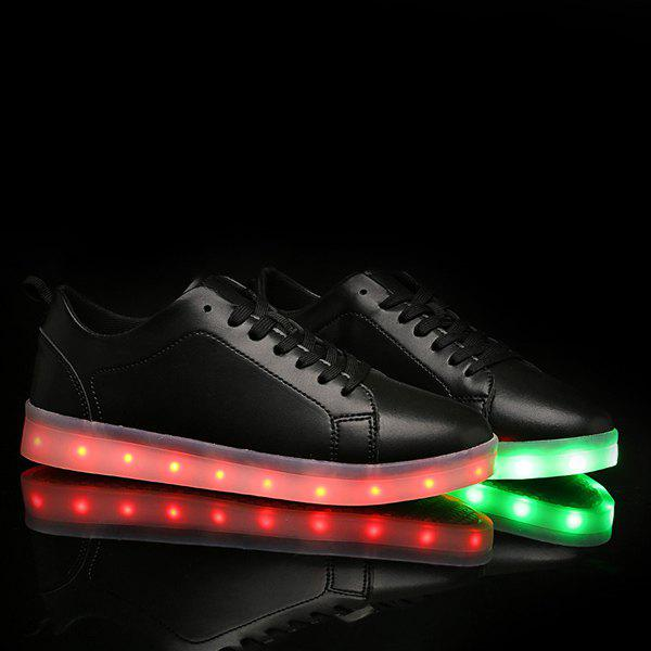 Led Luminous Lace Up Casual Shoes - BLACK 43