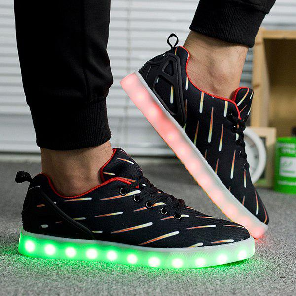 Lights Up Led Luminous Meteor Pattern Casual Shoes - BLACK 42