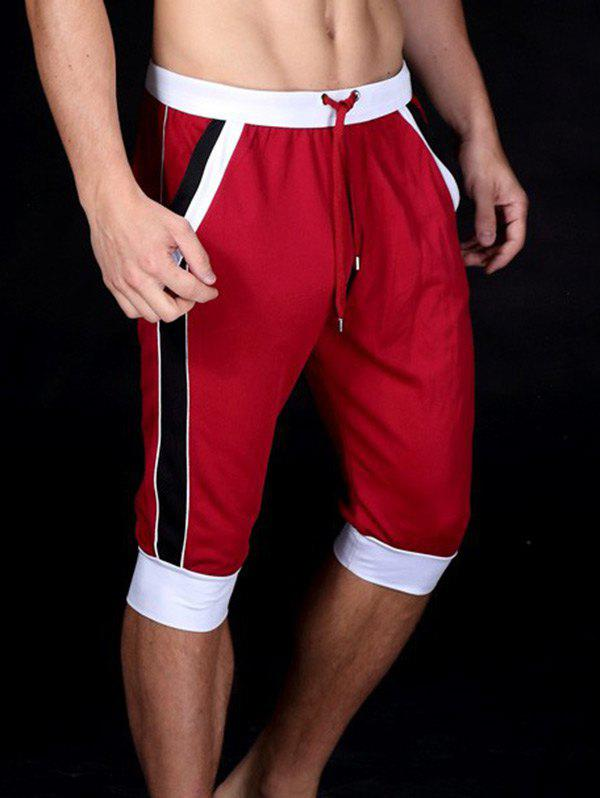 Color Block Splicing Design Lace-Up Sport Cropped Joggers - Rouge 2XL
