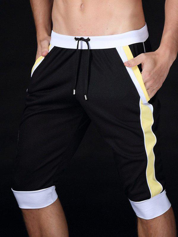 Color Block Splicing Design Lace-Up Sport Cropped Joggers - Noir 2XL