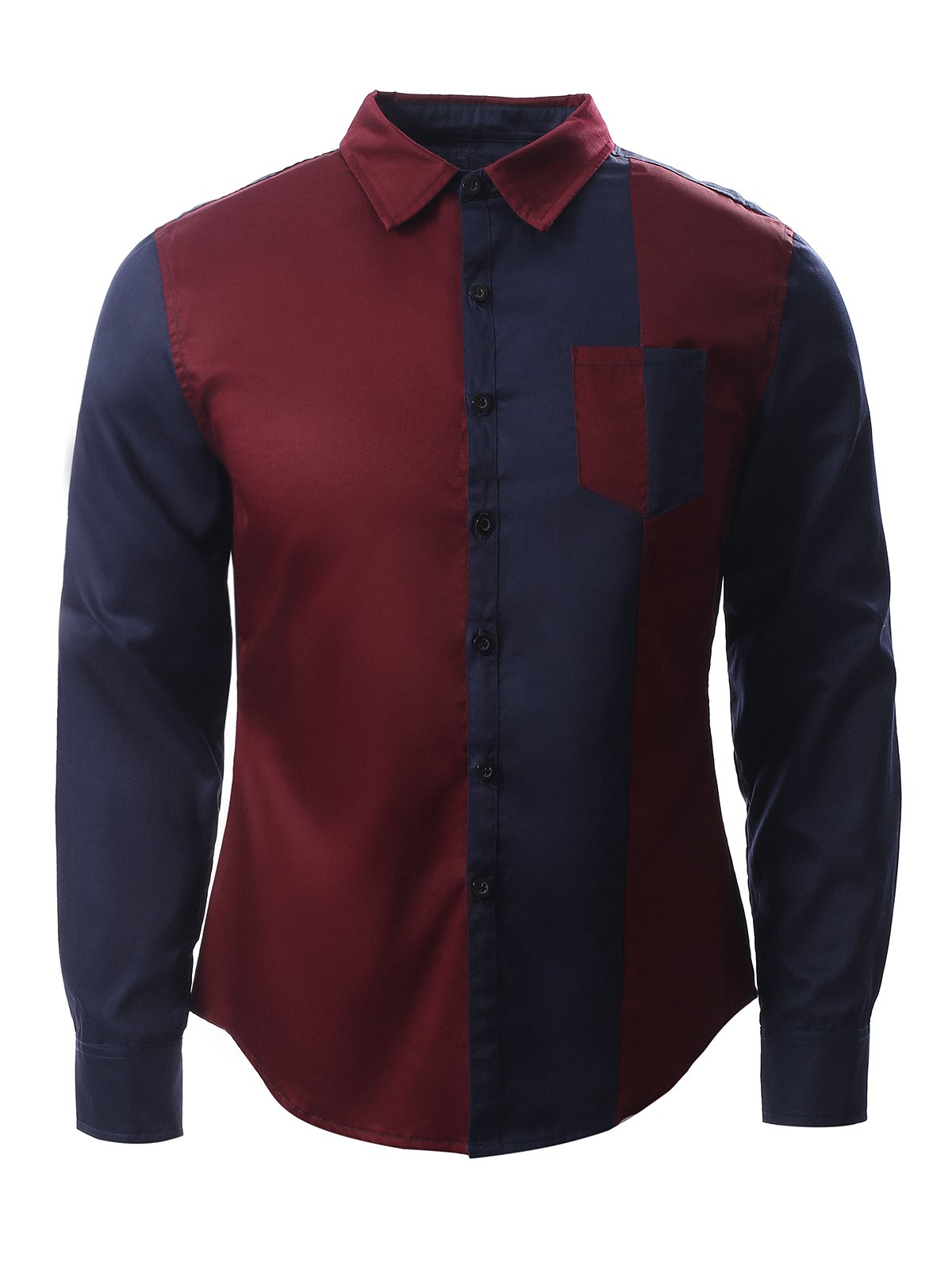 Col rabattu Long Couleur manches Bloc Splicing Conception shirt - Bleu et Rouge S