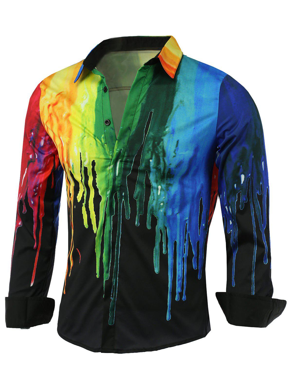 Covered Button Front Colorful Paint Dripping Print Shirt - BLACK M