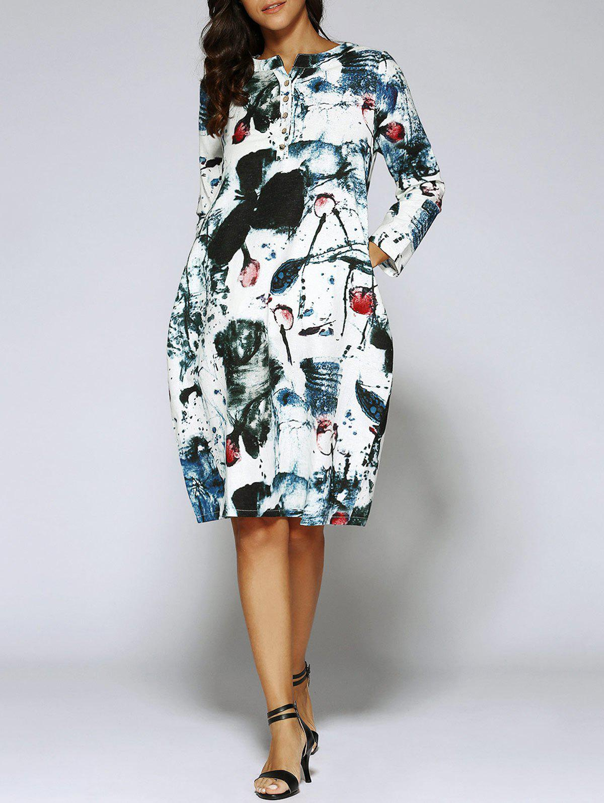 Chinese Style Painting Long Sleeve Tunic Linen Dress with Pockets