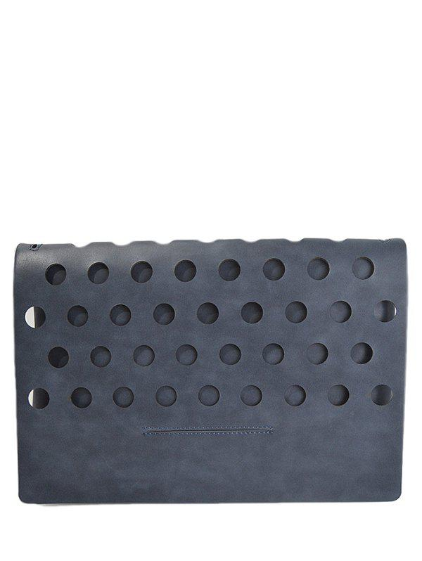 PU Leather Covered Hollow Out Clutch Bag - DEEP GRAY