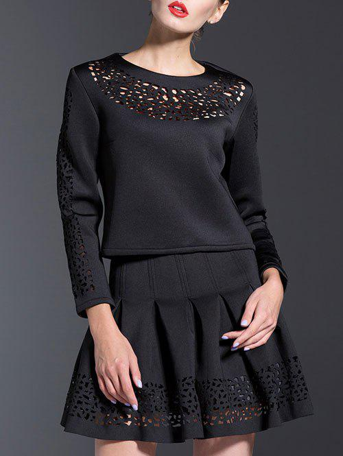 Casual 3/4 Sleeve Hollow Out Two Piece Dress - BLACK M