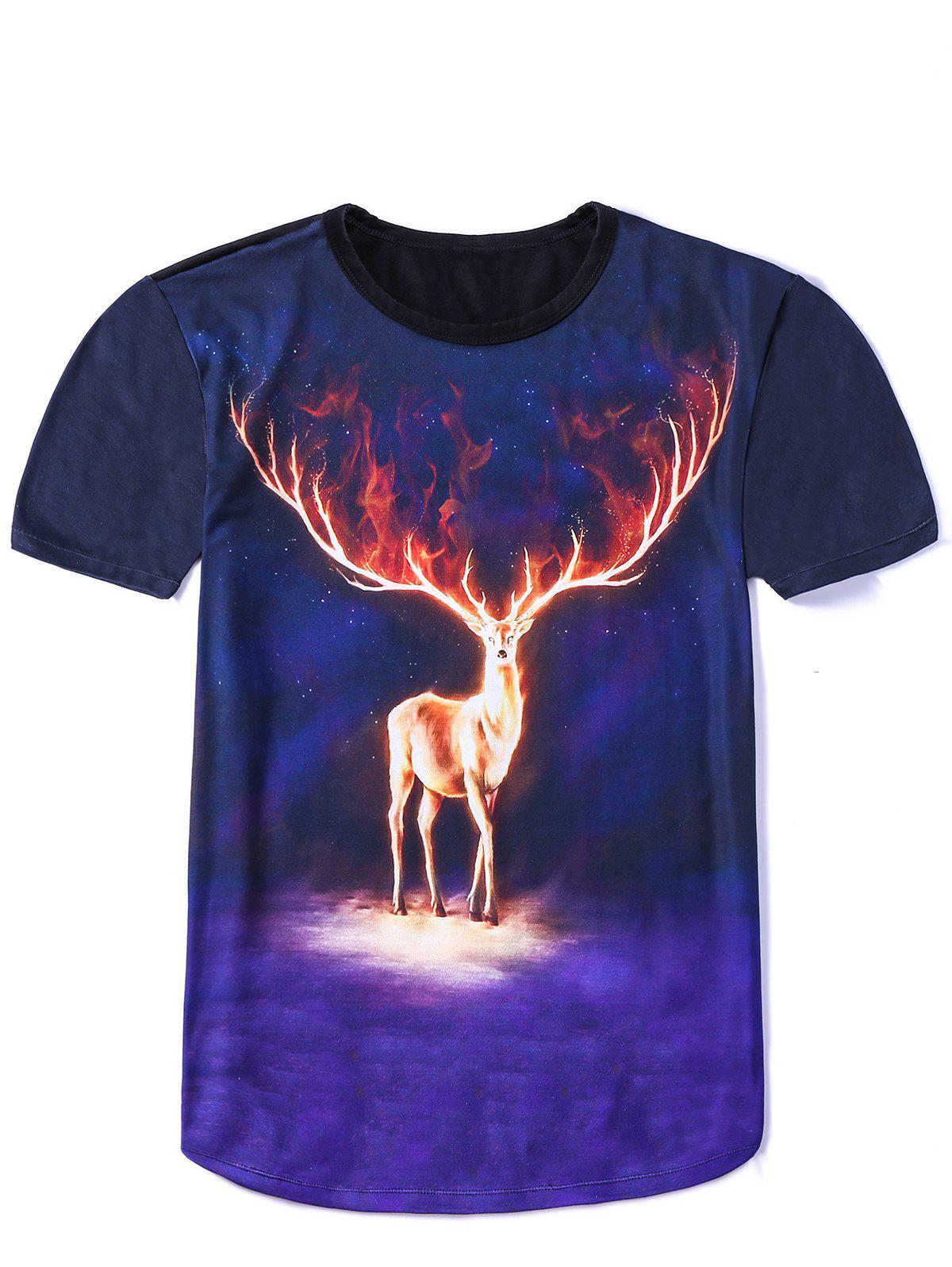 New Style Round Neck Elk Starry Sky Double Sided Print Short Sleeves Men's 3D T-Shirt - COLORMIX M