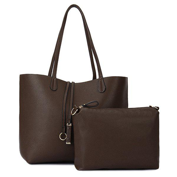 Textured PU Leather Pendant Shoulder Bag - COFFEE