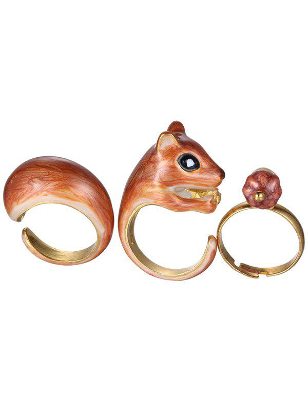 Alloy Squirrel Jewelry Set Rings - GOLDEN ONE-SIZE