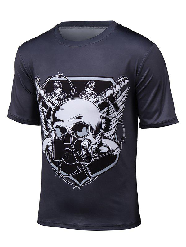 Short Sleeve 3D Gas Mask Skull Print T-Shirt - BLACK L