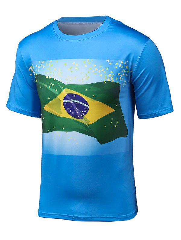 Short Sleeve 3D Brazil Flag Print T-Shirt - BLUE 3XL