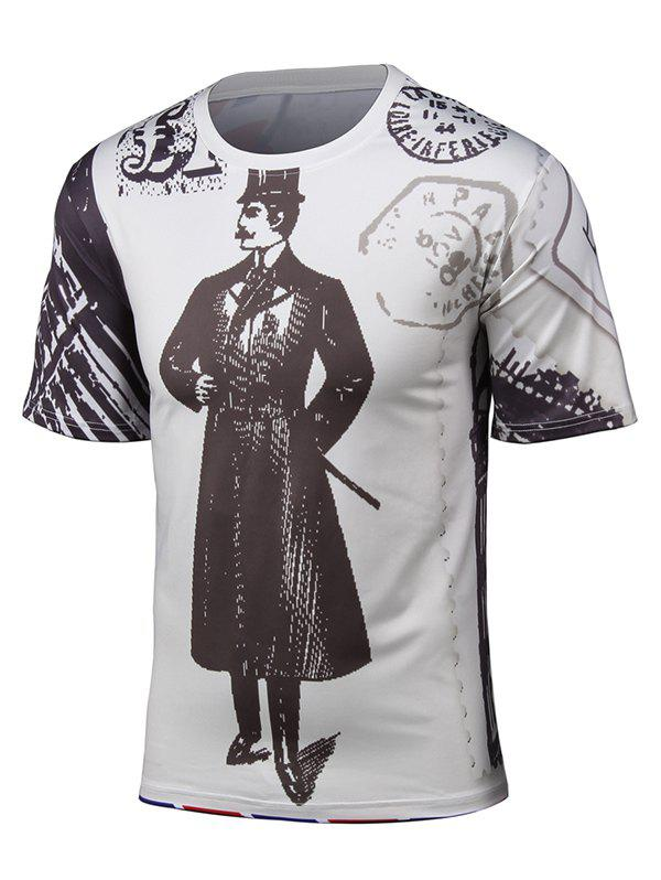 Short Sleeve 3D Cartoon Chaplin and Union Jack Print T-Shirt - COLORMIX 2XL