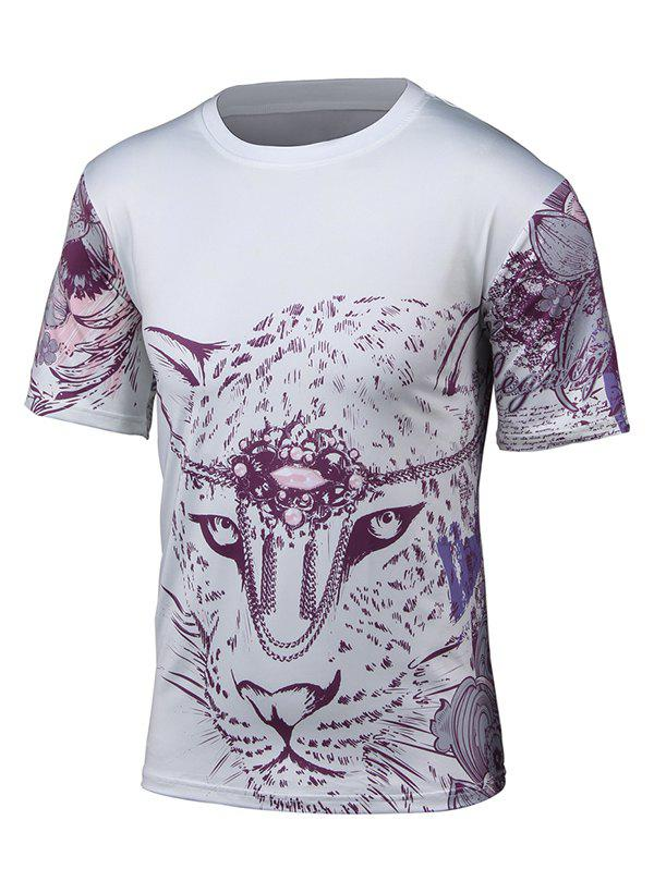 Short Sleeve 3D Leopard and Floral Print T-Shirt short
