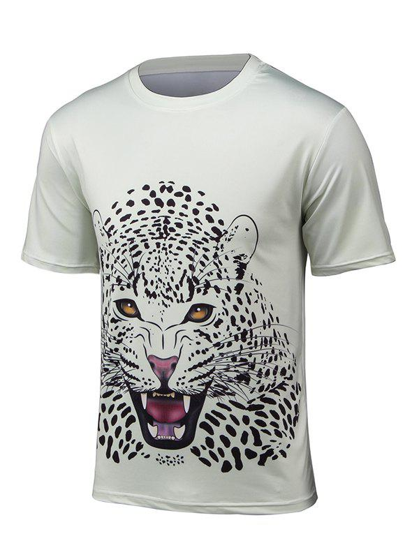 Short Sleeve 3D Leopard Print T-Shirt - OFF WHITE 2XL