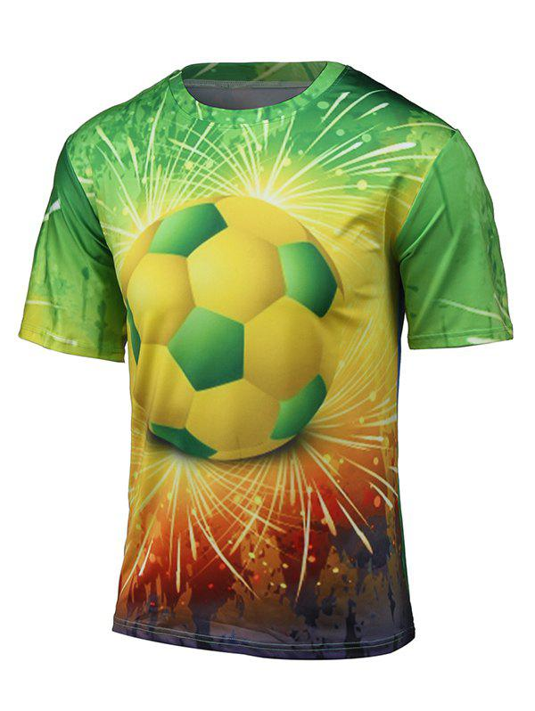 Short Sleeve 3D Football and Firework Print T-Shirt - COLORMIX 4XL