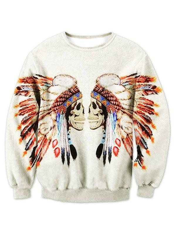 Tribal Skull Print Crew Neck Sweatshirt - OFF WHITE XL