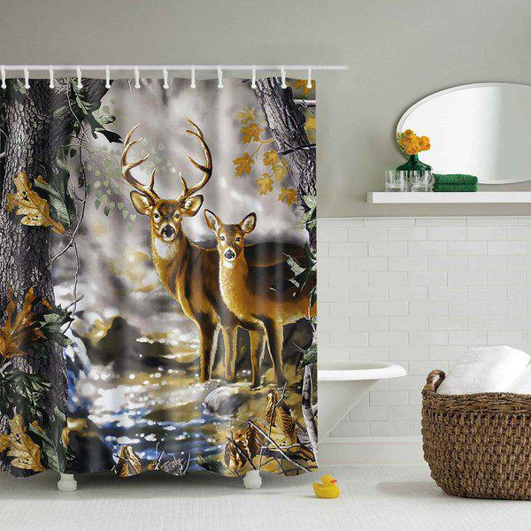 Bathroom Waterproof 3D Deer Nature Printed Shower Curtain - COLORMIX L