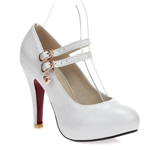 Round Toe High Heel Pumps - WHITE 39