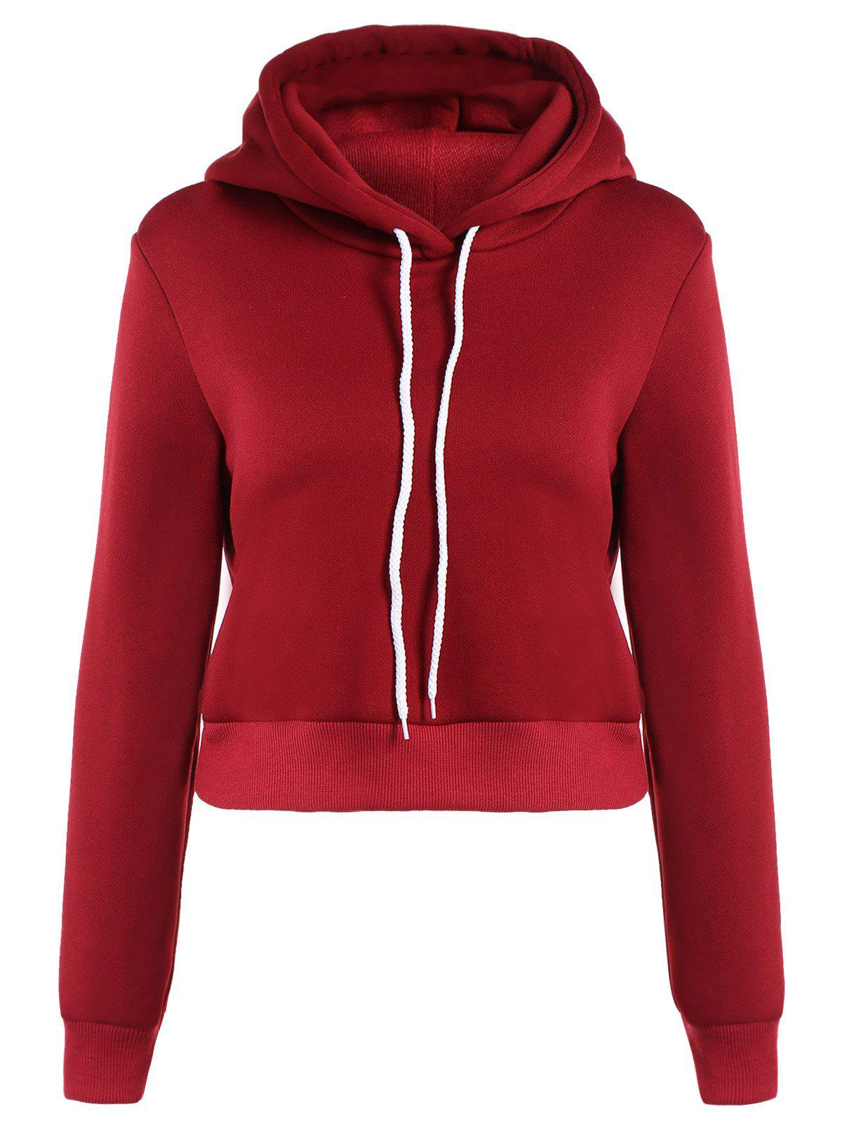 Long Sleeve Drawstring Thicken Hoodie - DEEP RED 3XL