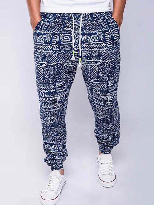 Lace-Up Cotton and Linen Geometric Print Beam Feet Jogger Pants
