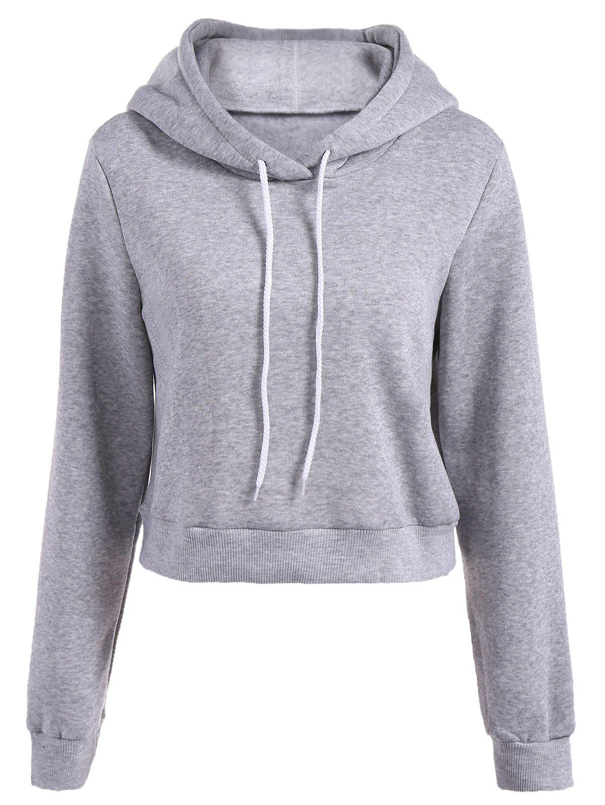 Long Sleeve Drawstring Thicken Hoodie - LIGHT GRAY M