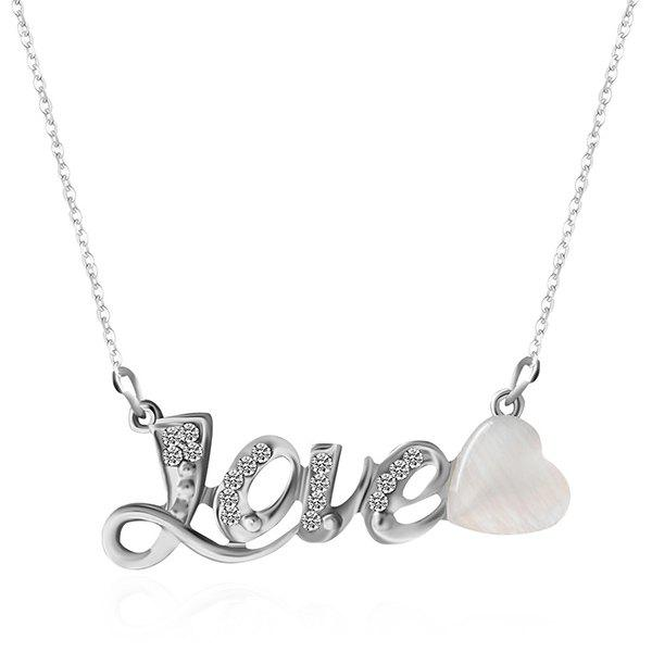 Faux Opal Love Rhinestone Heart Necklace